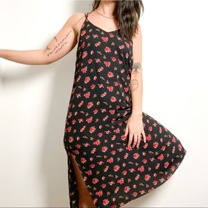 MIDI Red Black Floral Scrappy Calf Length Dress